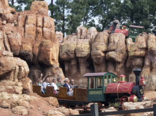 One train rolls out the cave from the final lift, while another climbs the hill on the second lift on Big Thunder at Disneyland. The theme park was running the attraction for cast members after a long refurbishment that saw most of the track replaced, and new effects installed.
