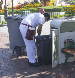 "Keeping Disneyland clean is a member of the Custodial crew, also known as ""jannies."""