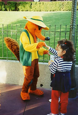 Tim Strauch II on his first day as a Disneyland character. Here he is dressed as Br'er Fox. Used by permission.