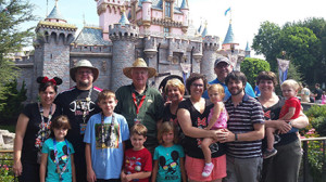 Carl and Sue Casebeer and family at Disneyland for a reunion on the occasion of their 44th anniversary during the summer of 2014.