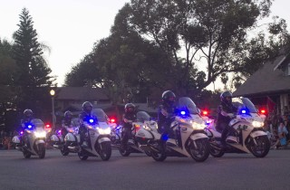 The motorcycle traffic unit from the Anaheim Police Department lead things off for the 2014 Anaheim Halloween Parade.