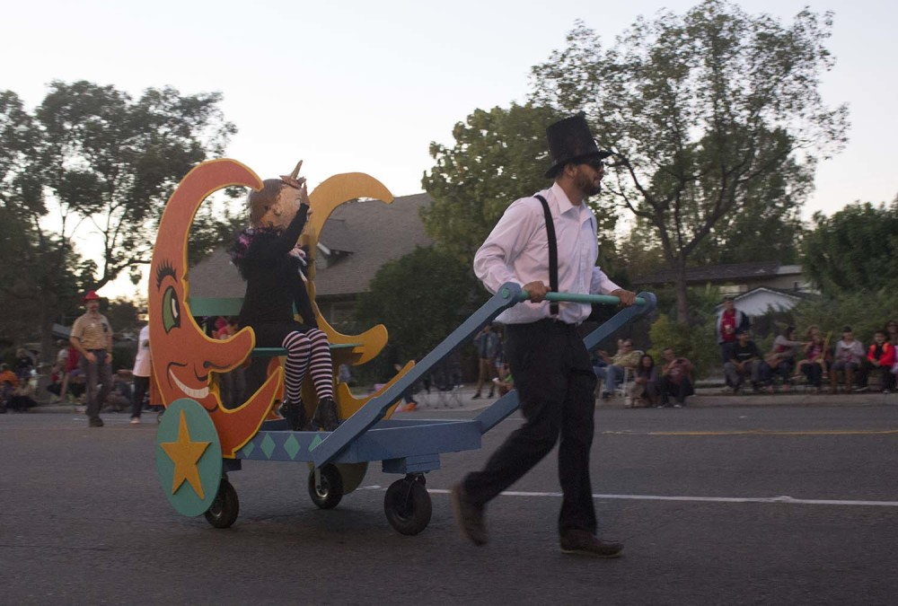 Some strange creatrues get to ride in comfort at the 2014 Anaheim Halloween Parade.