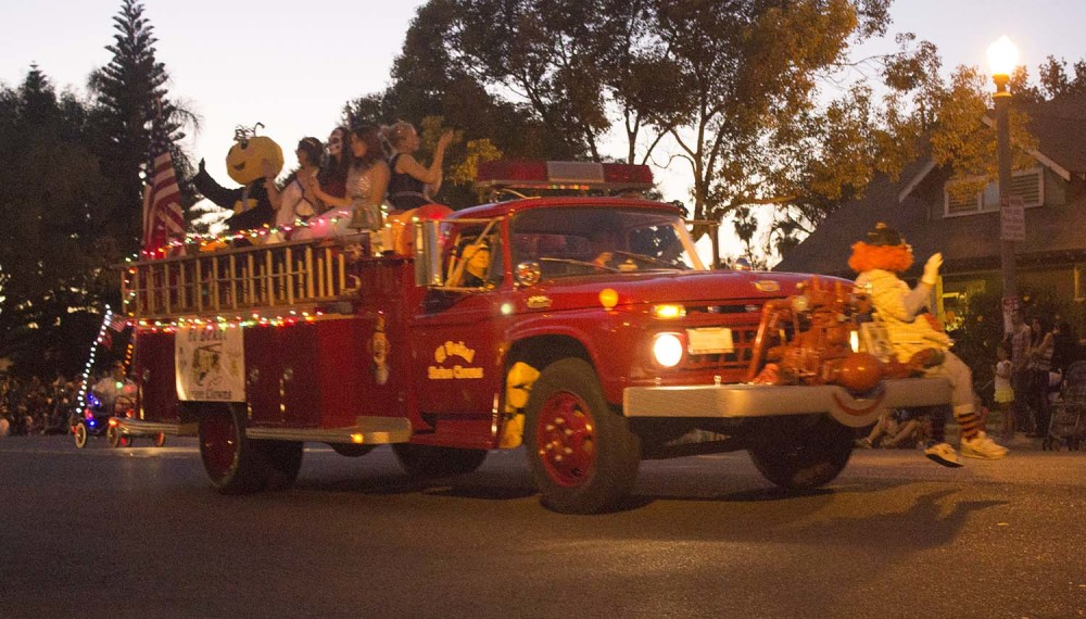 This fire truck is haunted at the 2014 Anaheim Halloween Parade.