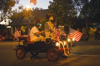The driver probably hit this skeleton in a crosswalk at the 2014 Anaheim Halloween Parade.