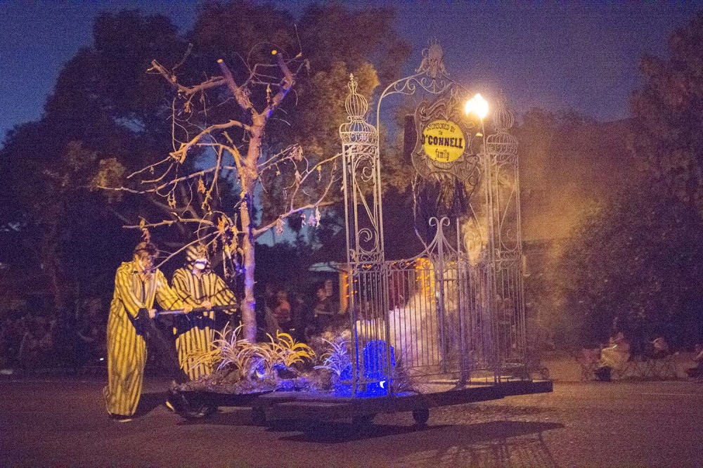 A gateway to a scary section of the 90th edition of the Anaheim Halloween Parade.