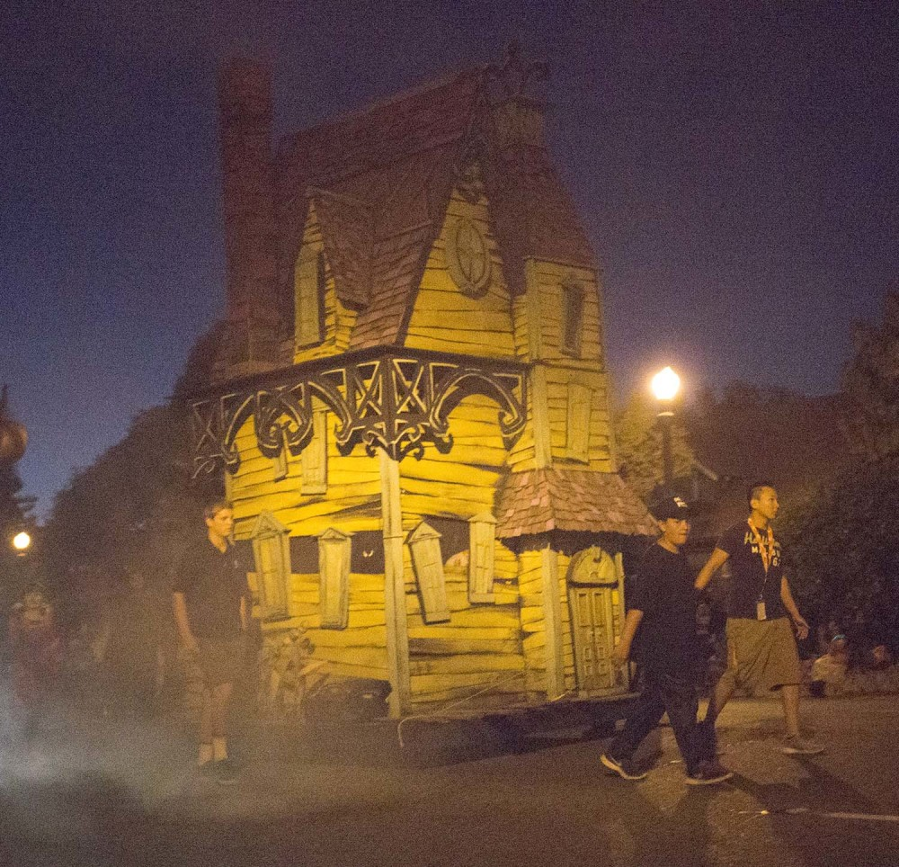 A haunted house floats along in the 2014 Anaheim Halloween Parade.