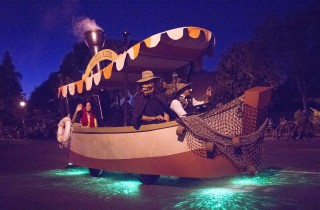 This is not your parents' Jungle Cruise boat at the 90th edition of the Anaheim Halloween Parade.